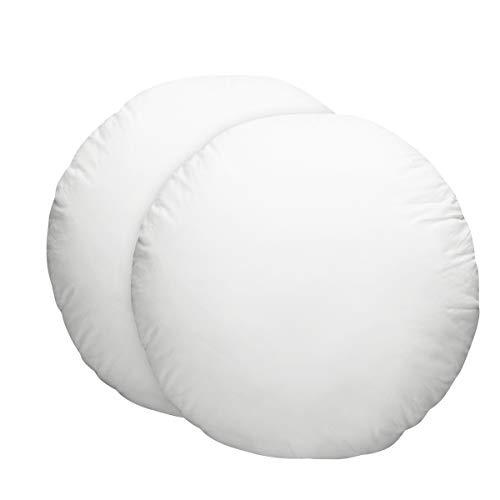 HOMEIDEAS Pillow Inserts - Stuffer Pillow Insert Sham Super Soft 100% Cotton Cover, Hypoallergenic Pillow Inserts Form, Cushion Inserts, Round 18 inch - Set of 2 -