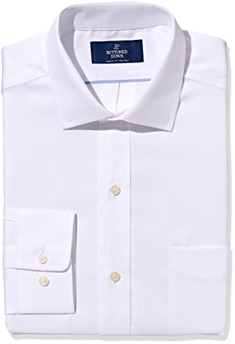 Buttoned Down Men's Non-Iron Classic Fit Pinpoint Spread Collar Dress Shirt, White, 15.5