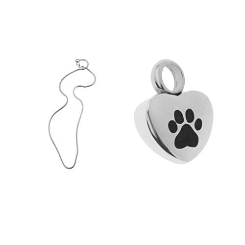 Black Paw on Heart Urn Pendant Necklace Pet Ashes Keepsake Memorial Jewelry Necklace Jewelry Crafting Key Chain Bracelet Pendants Accessories Best