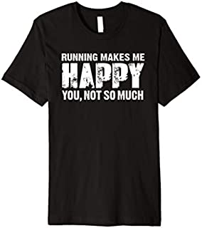 Cool Gift Running makes me happy - running t shirt Women Long Sleeve Funny Shirt / Navy / S - 5XL