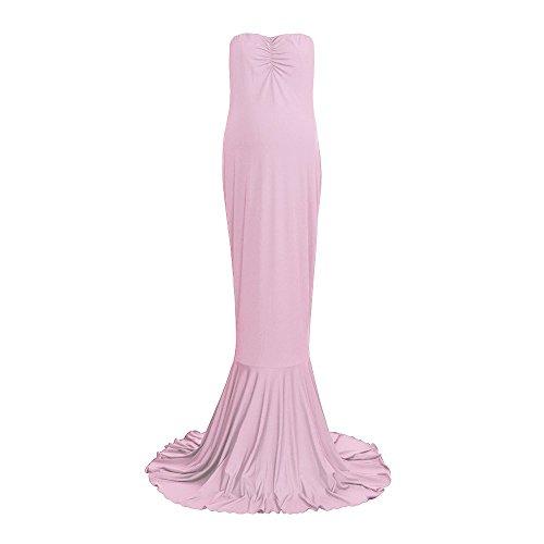 Topgrowth Spalline Vestiti Slim Fit Vestito Maxi Abito Cerimonia Elegante Lungo Gravidanza Cocktail Rosa Premaman Fotografia Senza IdrzgqWxIw