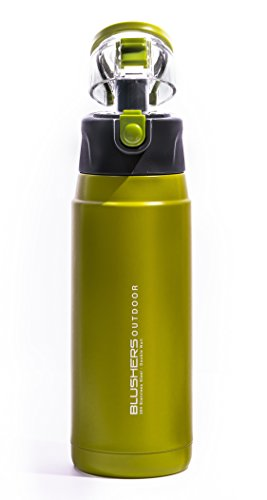 Blushers 600ml (20.3oz) Double Wall Vacuum Insulated 304 Stainless Steel To Go Travel Mug, One Touch Lock Lid Thermos Water Bottle (Green)