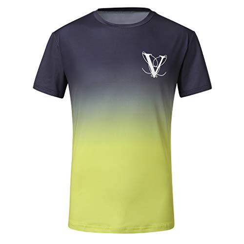 (Colmkley Men Gradient Color O Neck Hem Casual Fitness T-Shirt Short-Sleeved Tops)
