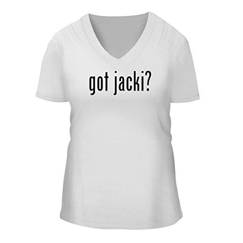 got jacki? - A Nice Women's Short Sleeve V-Neck T-Shirt Shirt, White, - Jackie Ohh 11