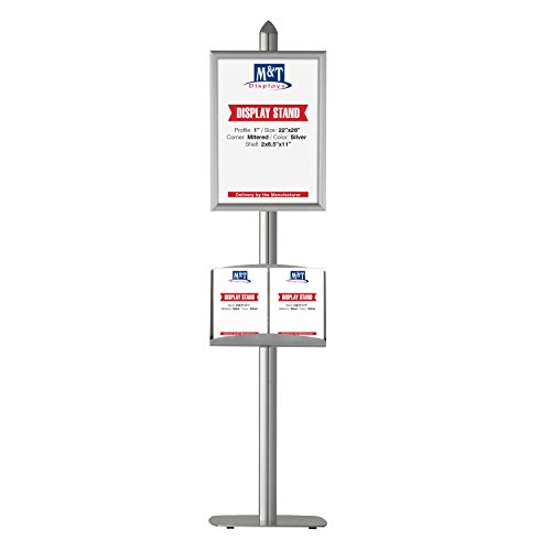 Free-Standing Poster Display Stand with Literature Rack, 22x28 Inch Poster Size Snap Open Frame with Steel Shelf (Silver)