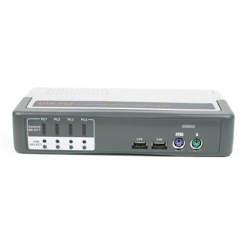 Linkskey 4-Port USB PS2 KVM Switch + Microphone/Speaker/USB Hub with 6 Feet Cables (LKV-248AUSK)