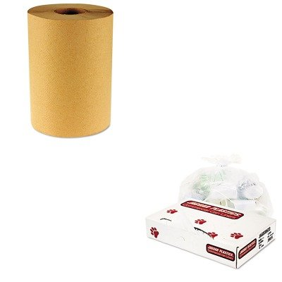 KITBWK6256JAGD38633CL - Value Kit - Jaguar Plastics D38633CL Clear Industrial Strength 1.8 Mil Drum Can Liners, 38quot; x 63quot; (JAGD38633CL) and Boardwalk 6256 Natural Hardwound Roll Paper Towels, 8quot; x 800' (BWK6256)