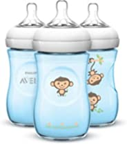 Mamadeira 260 ml Pétala Macacos com 3 Unidades, Philips Avent, Azul