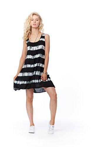 f400c8be56 Lagaci Women's Tie Dye Striped Dress Keyhole Back L Black