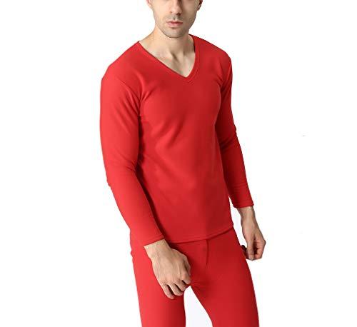Plus Size Xl-9Xl Autumn Winter Men Thicken Thermal Underwear Men Long Johns Velvet Soft Warm Suits Shirt+Pants 2 Pieces Set,Red,Wisdom (Womens Pants Polypro)