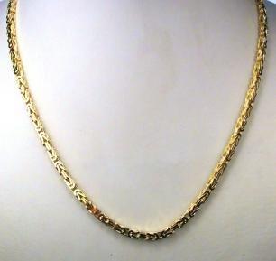 TENDENZE Collier Chaine Byzantine 18ct or doublé, 3mm, Longeur au choix, directement de l'usine italienne