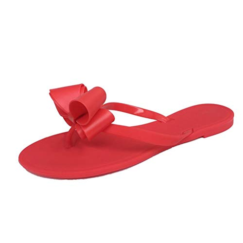 (GINELO Women's Female Word Drag Hualun Party Bow tie Flat Flip Flops Shorts Beach Shoes Slippers Sandals Red)
