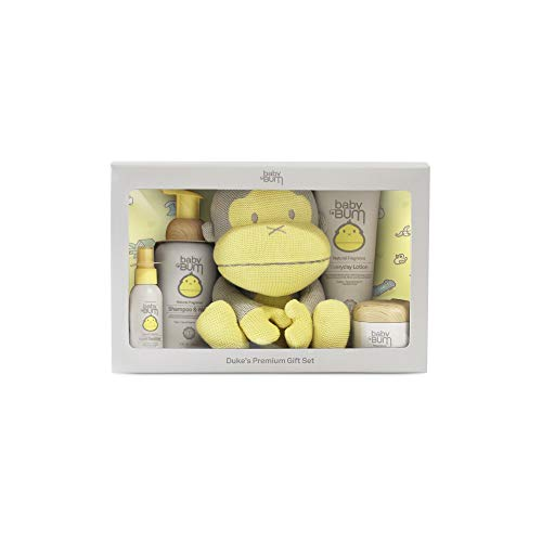 Baby Bum Duke's Premium Gift Set - Shampoo and Wash - Everyday Lotion – Natural Monoi Coconut Balm - Hand Sanitizer - Big Duke Stuffed Toy