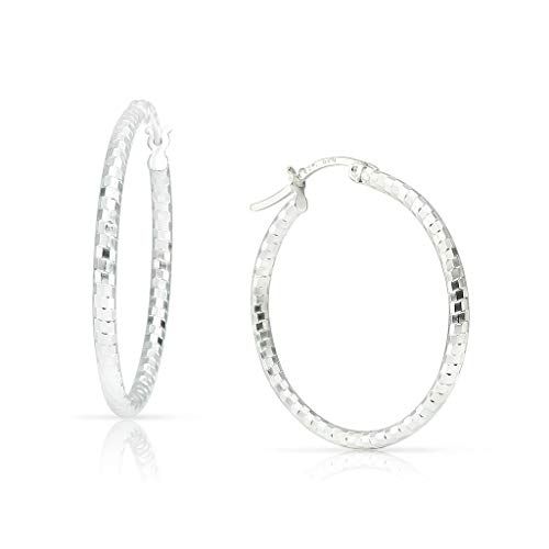 (SOLIDSILVER- Sterling Silver Disco Ball Style Diamond Cut Click Top Hoop Earrings For Woman, Girls & Teens| Sterling Silver| Sizes 30mm)