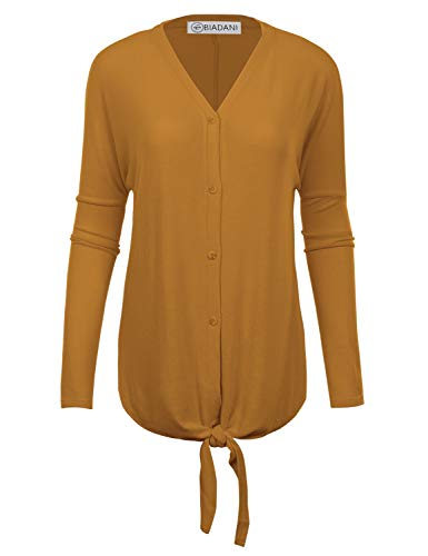 BIADANI Women's New Soft Terry Rayon Button Tunic with Tie Knot Mustard - Terry Tie