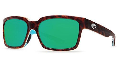 Costa Del Mar Playa Polarized Sunglasses Light Tort/White/Aqua Green Mirror