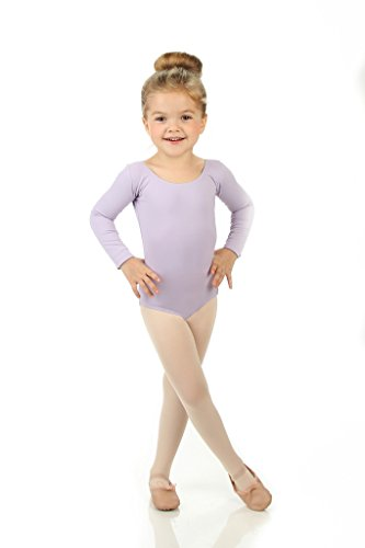 [Elowel Girls' Team Basics Long Sleeve Leotard Lavender (size-12-14)] (Dance Team Costume Tops)