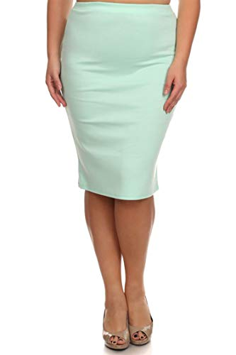 Plus Size Solid Print Casual Comfy Office Stretchy Pencil Midi Skirt/Made in USA Aqua 3XL ()