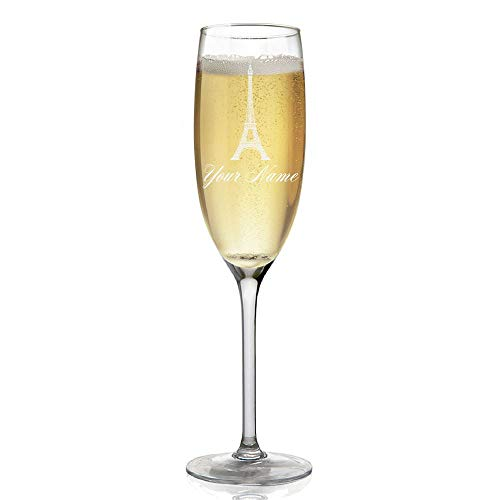Champagne Glass, Eiffel Tower, Personalized Engraving Included