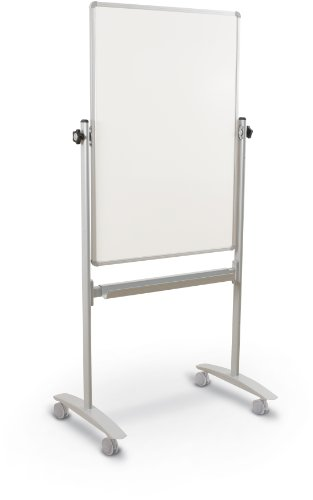 Best-Rite Lumina Rversible Mobile Dry Erase Whiteboard Easel, 40''H x 30''W Dura-Rite HPL Markerboard, Silver Frame (62382) by Best-Rite