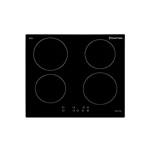 Russell Hobbs RH60IH401B Black Glass 59cm Wide, 4 Zone Induction Hob with Touch Control, Free 2 Year Guarantee