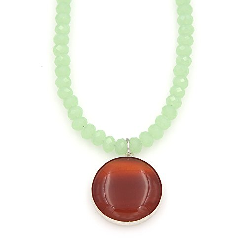 Carnelian Gemstone Pendant Necklace - Sterling Silver, Spring Green Crystals, 1.25 & 18-in 18in Translucent Green