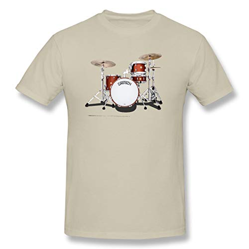 WENSON Men's Gretsch-Drums-Gretsch-Catalina-Club-Jazz-percussio-Drumset Classic T Shirts Natural 3XL with Short Sleeve