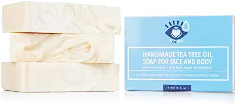 Tea Tree Oil Face Soap and Eyelid Scrub for Support of Eyelid Irritation, Itchy Skin, Flaky Skin, and Dryness, Handmade with Organic Ingredients (3 Pack)