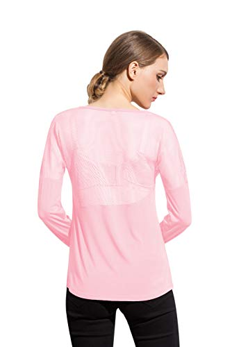 Women's Active Mesh Yoga Workout T Shirt Long Sleeve Sports Running Tee Top (Light Pink, - Sleeve Layered Ladies Long Tee