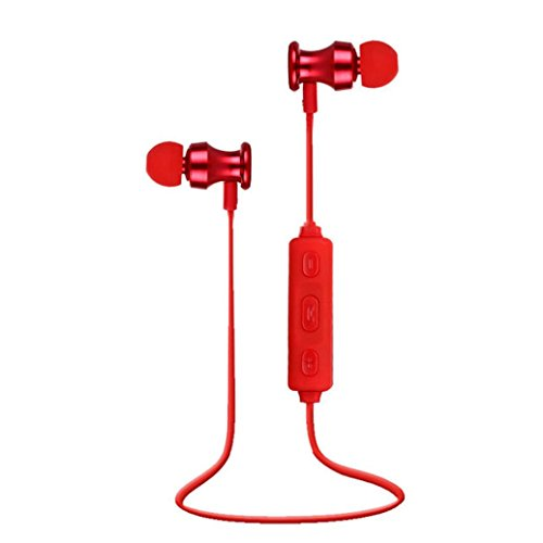 Creazy Bluetooth Wireless In-Ear Stereo Headphones Fitness Sports Headphones (Red)