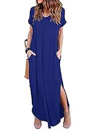 Amstt Women's Casual Beach Long Dress Short Sleeve Split Loose Maxi Dress with Pocket
