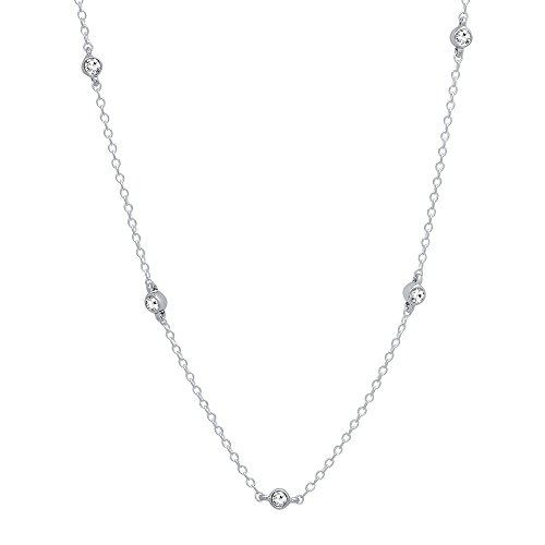 Dazzlingrock Collection 0.35 Carat (ctw) Round White Diamond Ladies Necklace 1/3 CT, Sterling Silver