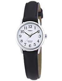 Timex Ladies Watch with White Dial and Black Leather Strap - T20441PF