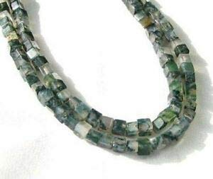 Agate Moss Bead String - Exquisite! Natural Moss Agate 4mm Cube Bead Strand 109471 Spacer Beads and Roll Crystal String for Bracelets Jewelry Making