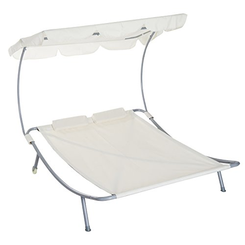 Outsunny 2 Person Sturdy Moveable Sun Protection Chaise Lounge Hammock Sunbed with Canopy and Stand – Cream White