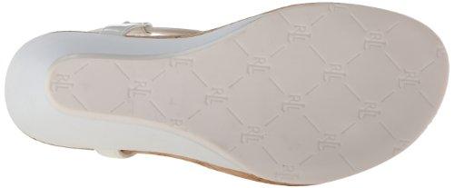 Lauren Ralph Lauren Reeta de las mujeres sandalias de cuña White Patent Suede Polyvinyl Chloride