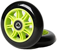FREEDARE Scooter Wheels 100mm for Scooter Replacement Wheels with Bearings (Green, Pack of 2)