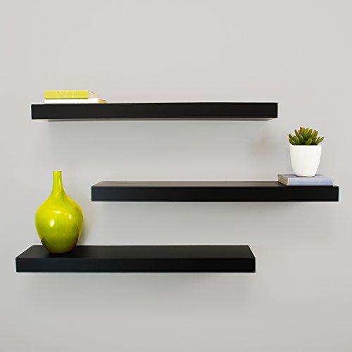 Kiera Grace Maine Wall Shelf, 24-Inch, Pack of 3, Black (Black Small Wall Shelf)