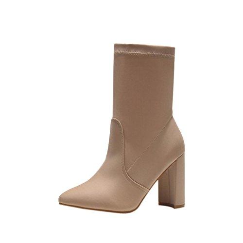 Black Women Ankle Purple Stretch Heel Stretch Beige Classic Fabric Fashion Boots Women's Fabric Ankle Ladies Ladies Boots High Beige Mamum Boots qdTCwgBq