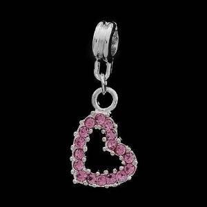Andante-Stones 925 perle Argent Dangle Bead avec cristaux brillants (roses) - Élément bille pour perles European Beads + Étui en organza