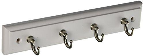 Amerock HR55590WG10 Key & Gadget Hook Rack 8-5/8in(219mm) - White/Satin Nickel