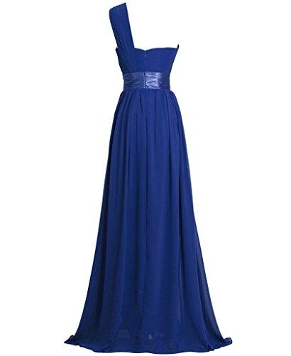 Ballkleid Ein Abendkleid GEORGE Sapphire Lang Chiffon Blue BRIDE Shoulder 5nqYF