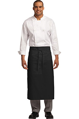 (Port Authority baby Easy Care Full Bistro Apron with Stain Release OSFA Black)