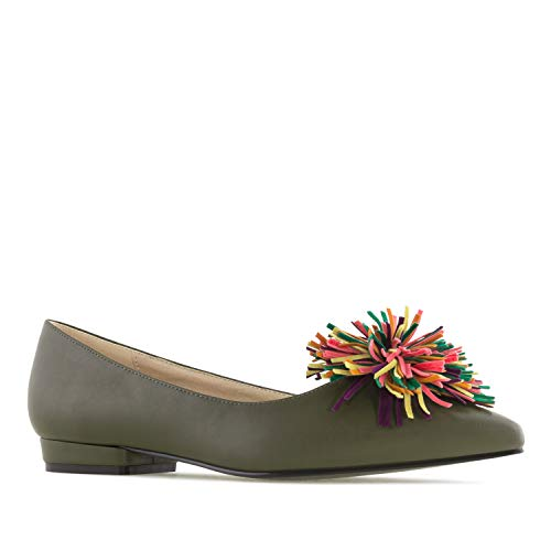 Flats Green Large Pompom Flats Olive Sizes Machado Multicolour Andres AM5324 q46wIUCxna