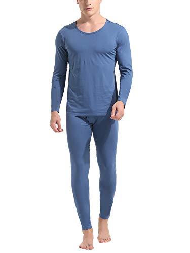 Amorbella Men's Long Underwear Thermal Set Cotton Long Johns Base Layer Cuddle Dudds Light Weight (Blue, Large)