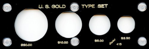 """Capital Plastic 2"""" x 6"""" 4-Coin Holder for """"U.S. Gold Type Se"""