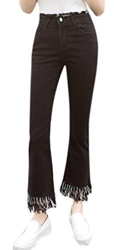 Lightweight Flare Leg Jeans (Enlishop Women's High Waist Fringe Bell Bottom Wide Leg Flare Crop Jeans)