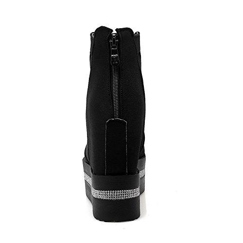 Toe Zipper High Heels Solid Boots Black Women's Allhqfashion Round PU Closed qng8Bx