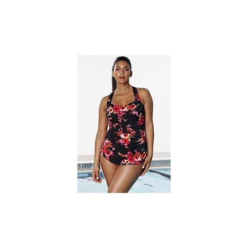 0b3779ad0b Aquabelle Women's Chlorine Resistant Poppies Sarong Front Swimsuit 80%OFF