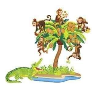 Little Folk Visuals LFV22704 Five Monkeys Sitting in a Tree Bilingual Rhyme Pre-Cut Flannel Boards - Monkey Felt